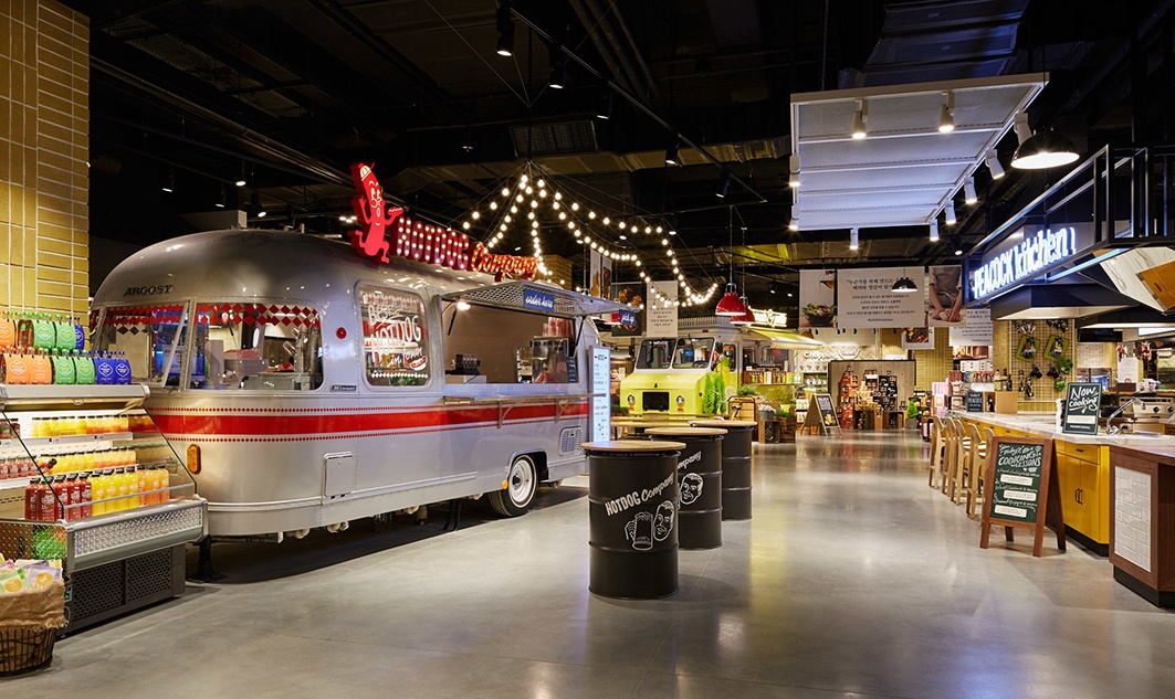 inside of emart retail store with Airstream trailer