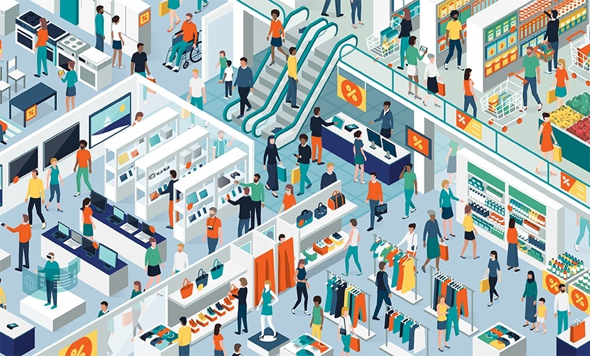 illustration from above of busy large department store