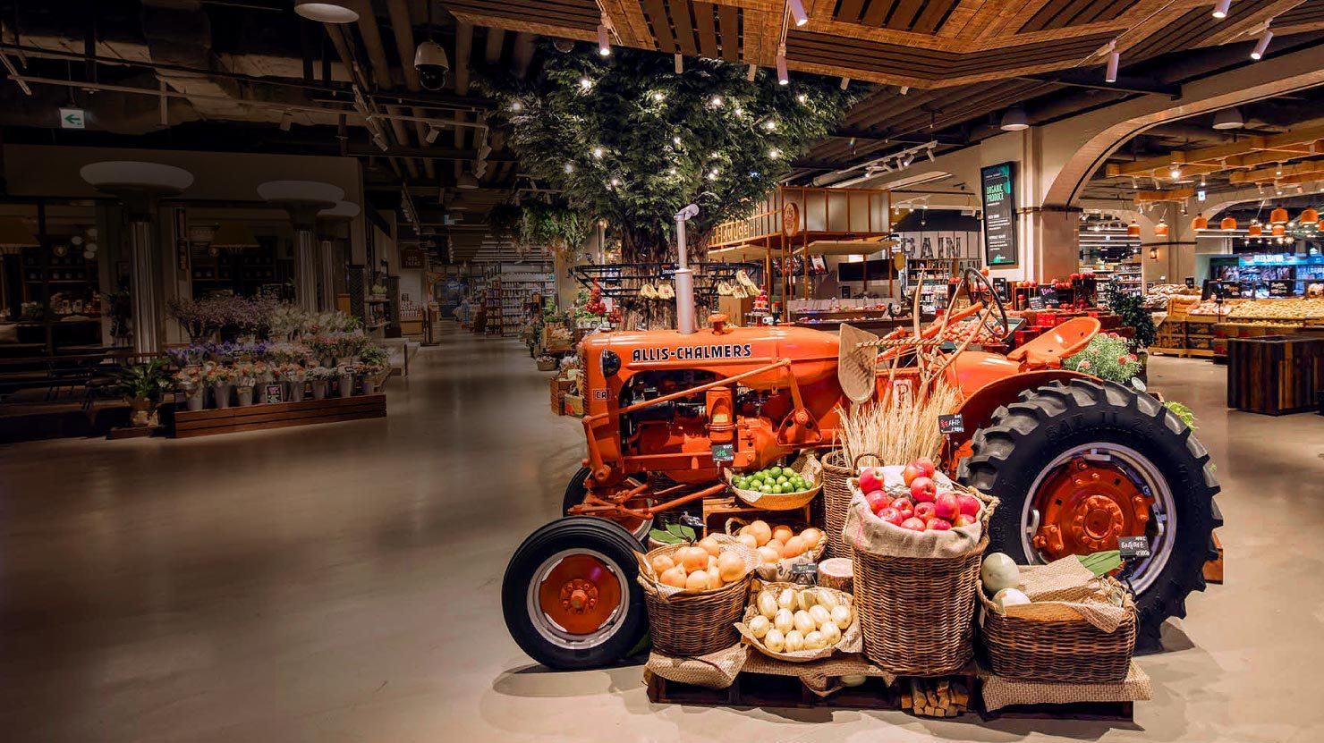 tractor in grocery store