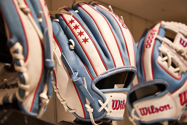 Chicago themed baseball gloves
